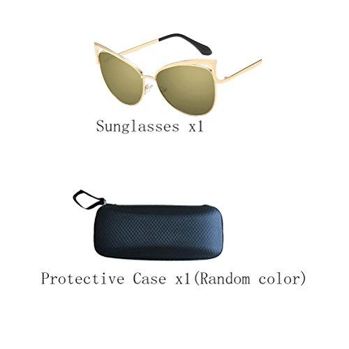 frame UV400 Gold des Zhhaijq Mirror soleil lunettes Men's Sunglasses de gold Women's Protection BPwnPvxq