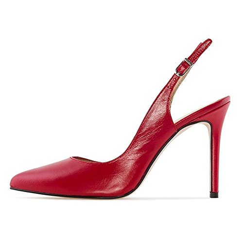 matte Shoes 3 Stiletto Heel Pointy Sexy Red Court Dress On High VOCOSI Women Slip Toe UK Size Slingback 11 7fRwAUqF