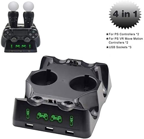 4 in 1 PS4 Controller Charger[Upgraded Version], Quad Charging Staion, 3 USB Interface Charging Desk for Sony Playstation 4/PS4/PS4 Pro/PS4 Slim/PS Move with LED Indicator