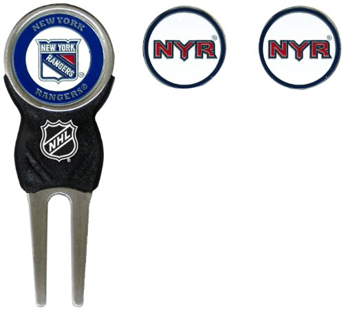 Team Golf NHL New York Rangers Divot Tool with 3 Golf Ball Markers Pack, Markers are Removable Magnetic Double-Sided Enamel
