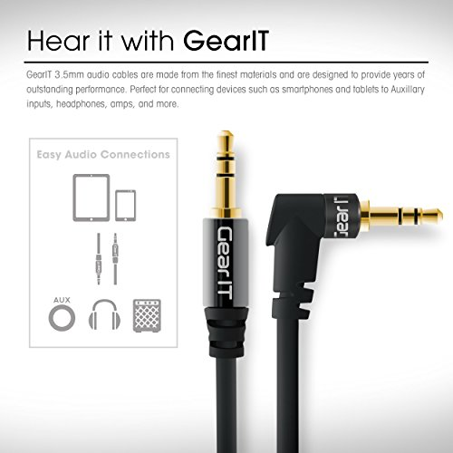 2ft 3.5mm Right Angle Cable, GearIT Pro Series Premium Gold Plated 2 Feet 3.5mm Right Angle Auxiliary Audio Stereo Male to Male Cable for Headphones, Car Stereo, iPods, iPhone, Black