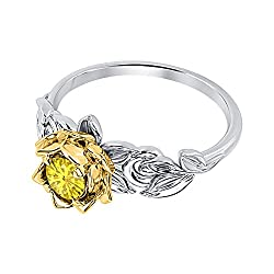 Gold Over Silver Yellow Saphire Engagement Ring