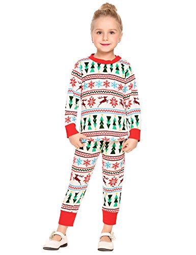 Arshiner Baby Little Girls 2 PC Xmas Outfits Long Sleeve Christmas Sets Tops + Leggings, Red/White, (Mean Girl Santa Costumes)