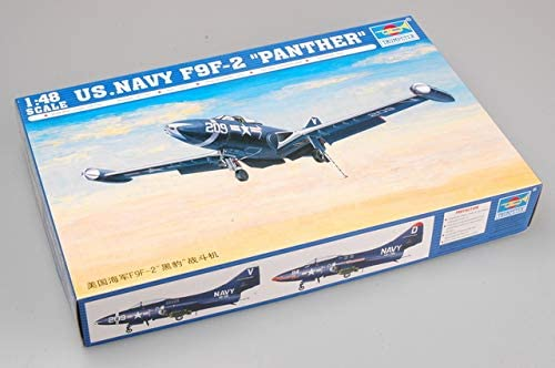 Us Navy F9f-2 Panther Fighter 1:48 Plastic Model Kit TRUMPETER