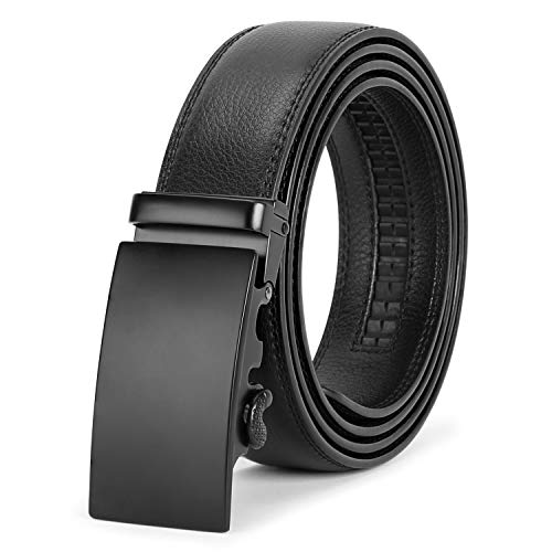 Men's Ratchet Leather Belt for Dress, Sliding Automatic Buckle Belt Fit Waist up to 44 Inch (E Black, Fit pant 28-44inch)