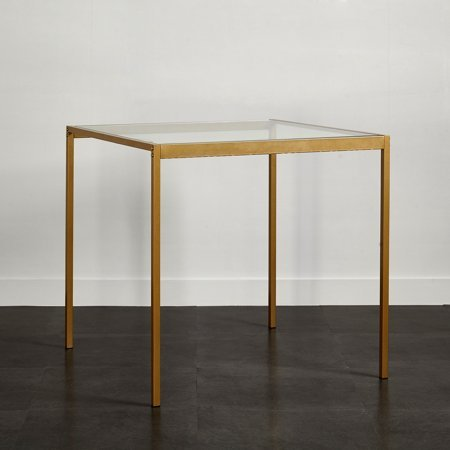 Stylish Tempered Glass and Metal Dining Table (Small)