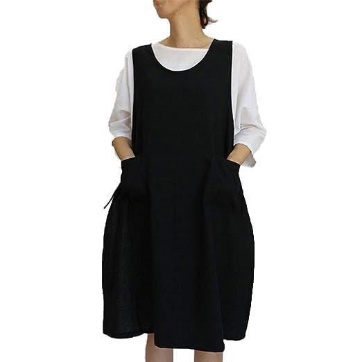 f06f9c3e7b43 Amazon.com: Womens Casual Loose Cotton Linen Tunic Dress, Vintage Apron  Overall Pinafore Midi Dress With Pockets S-2XL: Clothing