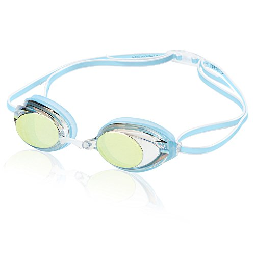 Speedo Women's Vanquisher 2.0 Mirrored Swim Goggles, Panoramic, Anti-Glare, Anti-Fog with UV Protection, Blue, 1SZ