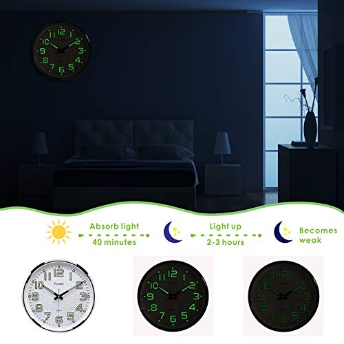 Plumeet Night Light Wall Clocks - 13 Inches Clock with Silent Non-Ticking Glowing Function - Good for Home Kitchen… 3