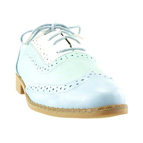 Angkorly - damen Schuhe Brogue Schuh - Perforiert - Fertig Steppnähte Blockabsatz 2.5 CM - Blau