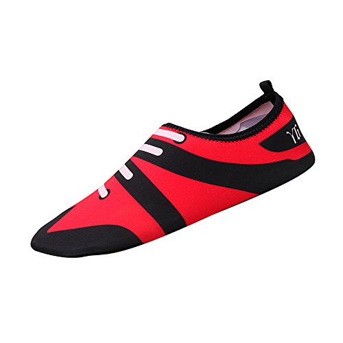 Botrong Men Women Printed Quick-Dry Swim Surf Socks Yoga Skin Sports Beach Shoes (Red, (Suede Hardsole Moccasins)