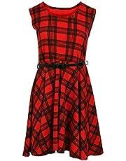 Rimi Hanger Women Ladies Belted Tartan Check Print Sleeveless Skater Flared Dress Top
