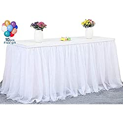 SoarDream Round or Rectangular Table Tutu Skirt White 270cm Ruffle Table Skirt Custom Wonderland Theme Party Table Tulle Table Skirting