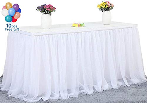 Fanqisi Round or Rectangular Table Tutu Skirt White 270cm Ruffle Table Skirt Custom Wonderland Theme Party Table Tulle Table -
