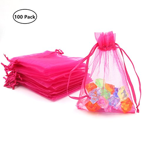ATCG 100pcs 3x4 Inches Drawstring Organza Pouches Wedding Party Jewelry Favor Gift Candy Bags (HOT Pink)