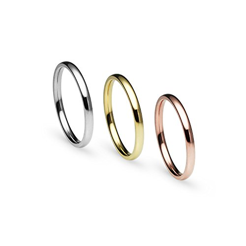 Stackable 3 Piece Set Silver Tone Gold Tone Rose Gold Tone Stainless Steel Wedding Band Ring