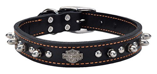 Harley-Davidson 1 in. Adjustable Leather Spiked Premium Dog Collar - 20 in. (Harley Davidson Leather Collar)
