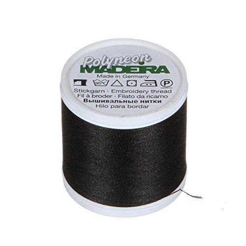 Madeira 9845-1800 2 Ply Polyneon Polyester Embroidery Thread, 40wt/135d 440 yd, Black (Madeira Polyneon Thread)