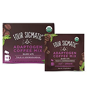 Four Sigmatic Adaptogen Coffee – USDA Organic Coffee with Tulsi & Astragalus – Organic, Vegan, Paleo – Hack Stress – 10 Count