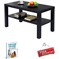 Black Coffee Table with Storage Shelf Living Room Wood Modern Contemporary Small Unique Sofa Cocktail Table & eBook by AllTim3Shopping