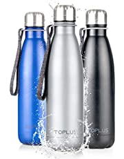 TOPLUS Thermosbeker, 500 ml, thermosfles, vacuüm-geïsoleerde reisbeker, 304 roestvrij staal, geen BPA-drinkfles - 24 uur koelen en 15 uur warm houden, 100% dicht, grijs