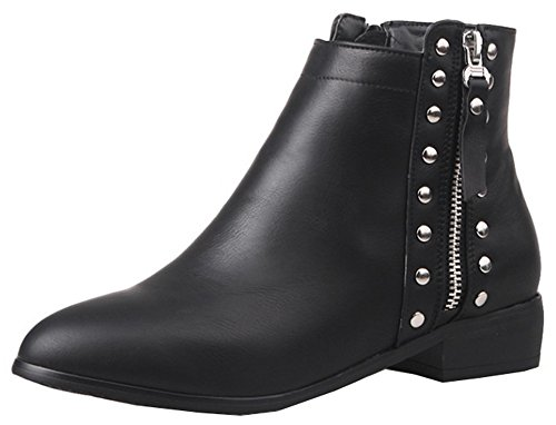 Easemax Women's Retro Studded Low Block Heel Round Toe Ankle High Booties With Zipper Black TfKJJo