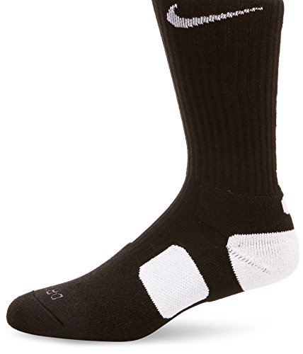 Nike Unisex Elite Basketball Crew Black/White/White LG (Men's Shoe 8-12, Women's Shoe 10-13)