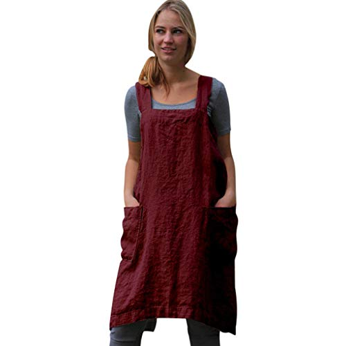 TIANMI Ladies Solid Color Apron Dress,Comfortable Cotton Linen Square Cross Apron Garden Work Pinafore Red