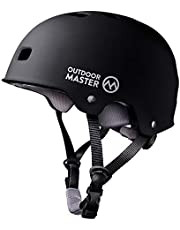 OutdoorMaster Skateboard Helmet - ASTM & CPSC Certified Lightweight Skate with Removable Lining - 12 Vents Ventilation System - for Kids, Youth & Adults