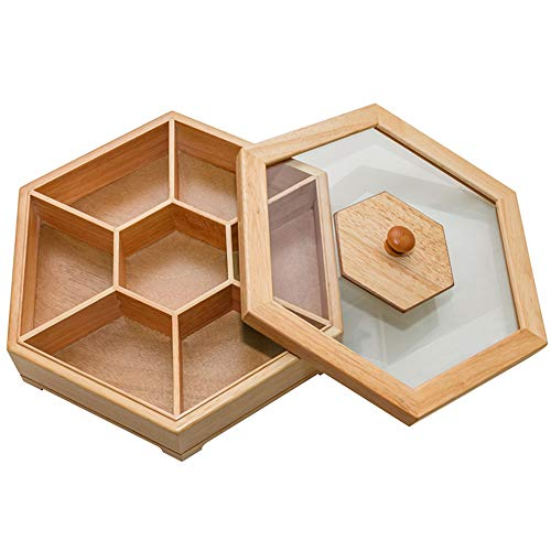YUSDP Snacks Serving Tray, 7 Grid Candy Box Oak Wood with Glass Cover- All-Natural Friendly, Multi-Separated Design Perfect for Daily Use