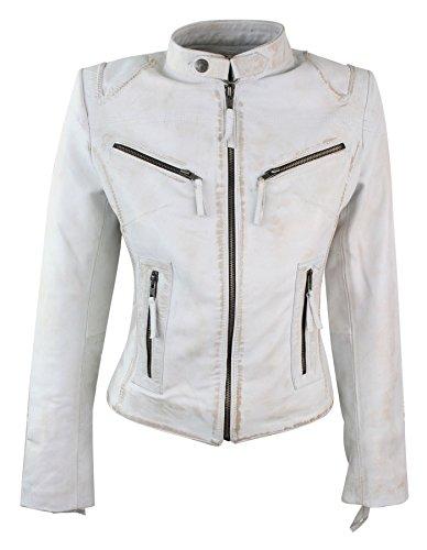 Vintage White Leather Jacket - 5