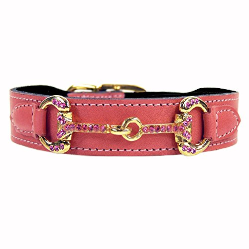 Hartman & Rose Horse and Hound Dog Collar, 16 to 18-Inch, Petal Pink