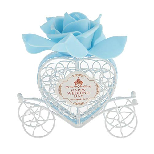 BROSCO Sweet Love Heart Carriage Candy Chocolate Gift Box Happy Wedding Day Party Favor | Color - Blue (Boxes Cone Heart Favor)