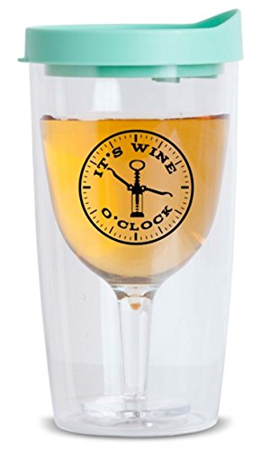 It's Wine O'Clock Plastic Wine Tumbler with Spill Proof Lid - Insulated Double Walled Shatterproof Glass - Reusable Tumblers Adult Sippy Cup Wine Drinkers Lovers Gift Idea (Teal)