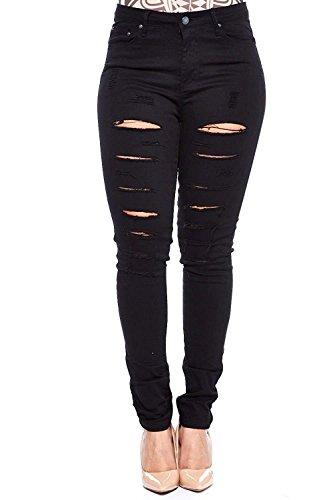 926 Womens Plus Size Distressed Knee Hole Ripped Stretch Jeans Skinny Twill Pants (16-Plus, JD-Black BQ6008-R) (Twill Jeans Black)