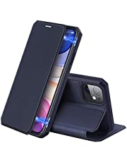DUX DUCIS Flip Case for iPhone 11, Shockproof Leather Folio Wallet with Upgraded Magnetic Closure, Card Slot, Kickstand and Soft TPU Bumper Back Cover for iPhone 11 (Blue)