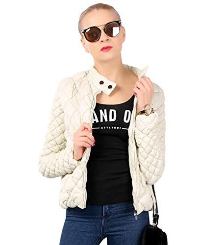 Giacca Trapuntato Invernali Eleganti Casual Solidi Donna Cappotto Manica Slim Calda Moda Colori Lunga Trapuntata Corto Costume Outwear Bianca Outdoor Fit Collo Coreana 6OZ6xA