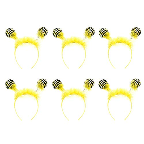 Crazy Night Bee Headband Bee Hair Hoop Pom Pom Boppers for Birthday Party Halloween Party Decorations (6) ()