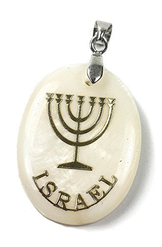 Mother Of Pearl Israel Pendant 7 Branch Menorah Women Men Jerusalem Jewelry