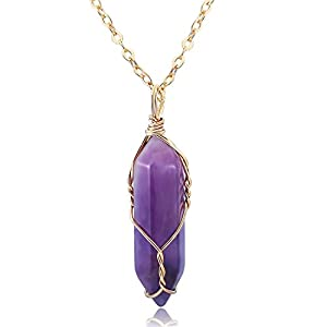 J.Fée Gold Wire-Wrapped Healing Chakra Pendant Necklace Made of Raw Crystal - Handmade Creative Gifts