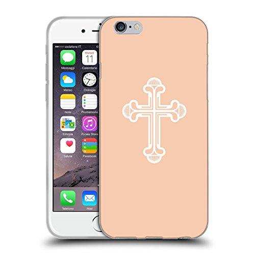 """GoGoMobile Coque de Protection TPU Silicone Case pour // Q09380604 Croix chrétienne 48 Abricot // Apple iPhone 6 4.7"""""""