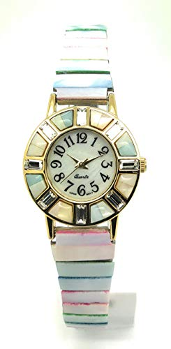 Womans Mother Watch Pearl Of (Ladies Luxurious Elegant All Shells Begat Stones Stretch Elastic Band Fashion Watch Pearl Dial Versales (Mother-of-Pearl))
