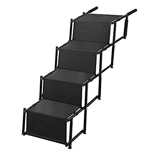 Pet Dog Car Step Stairs, Accordion Metal Frame Folding Pet Ramp for Indoor Outdoor Use, Lightweight Portable Auto Large Dog and Cat Ladder, Great for Cars, Trucks and SUVs Cargo, Couch and High Bed