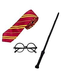 Cosplay Wand Set Dress Up Costume Accessories Halloween with Glasses and Tie