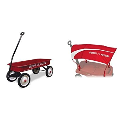 Radio Flyer Classic Red Wagon with Wagon Canopy Bundle: Toys & Games