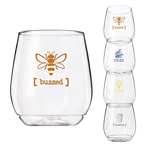 4-pack BPA Free Shatterproof Printed 14 Ounce Shatterproof Wine Glass CLOSEOUT (BUZZED)