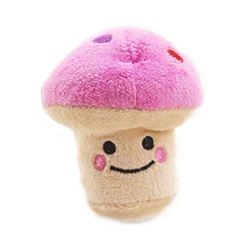 wouke Puppy Chew Toy, Pet Squeaky Plush Sound Cute Vegetable Mushroom Design Toys