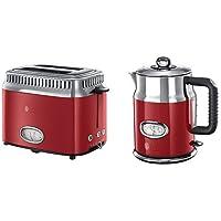 Russell Hobbs 21680-56 Toaster Retro Ribbon Red, Retro Countdown-Anzeige, Schnell-Toast-Technologie, 1300 Watt, rot & Hobbs 21670-70 Wasserkocher Retro Ribbon Red, 2400 Watt, 1.7l