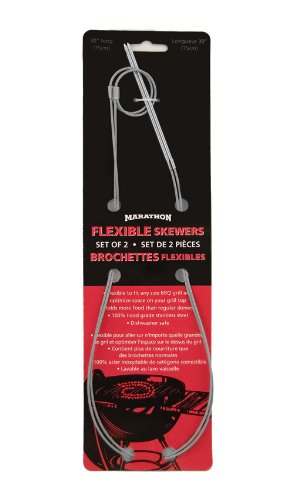 Marathon Easy Marinate Flexible Stainless Steel Grilling Skewers. Color-Silver. SKU-HW030052/2pi. (Pack of 2)