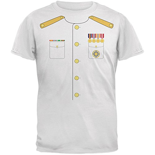 Old Glory Halloween Navy Admiral Costume White Adult T-Shirt - -
